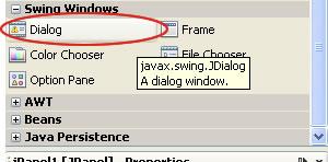 componeten dialog netbeans